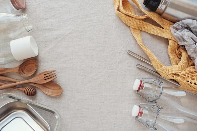 Reusable, plastic free,  eco living and zero waste concept