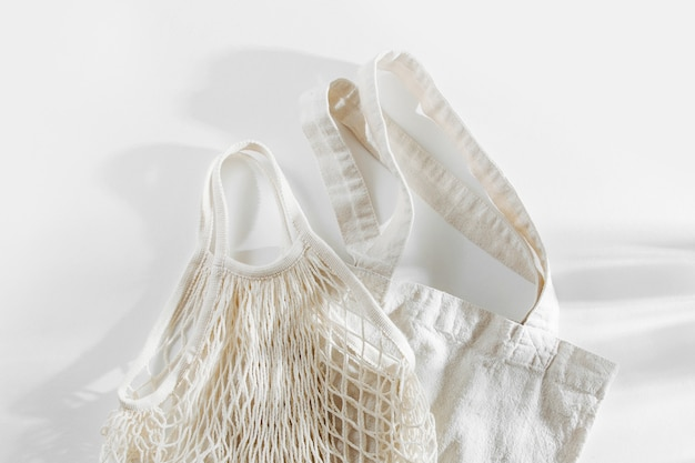 Reusable shopping bags on white background. zero waste concept. no plastic.