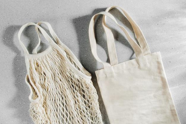 Многоразовые хозяйственные сумки. концепция нулевых отходов. никакого пластика.