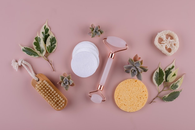Reusable skincare accessorize zero waste sustainable lifestyle concept