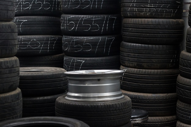Reuse tire with marking in stock
