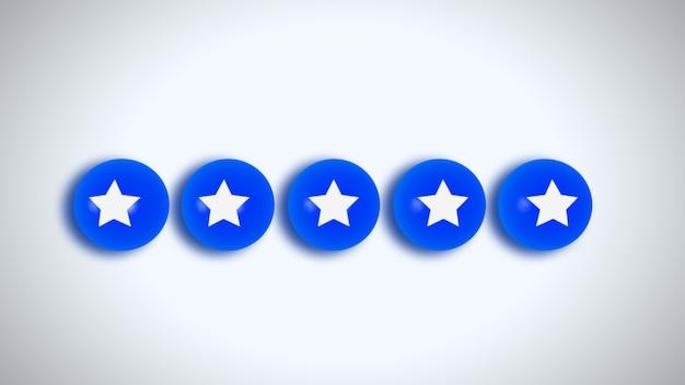 Оцените рейтинг 5 звезд в социальных сетях в стиле 4k. иллюстрации.