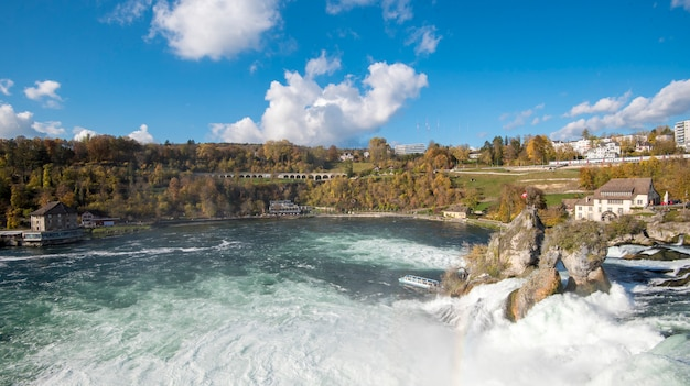 Rheinfall in autumn, the biggest waterfall in europe