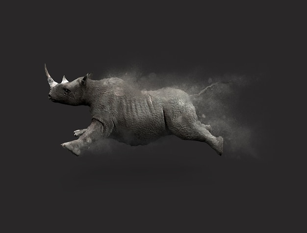 A rhino moving and jumping with dust particle effect on gray background