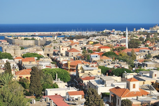 Rhodes, greece. panorama of historical part old town.