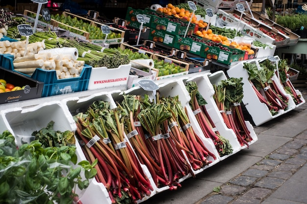 Rabarbaro al mercato degli agricoltori