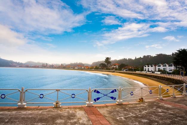 Ribadesella beach in asturias spain white railing