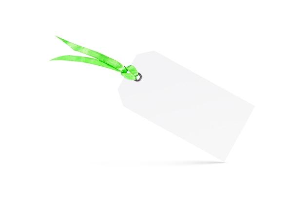 空白の白い織り目加工のタグは分離されたribandとモックアップします。