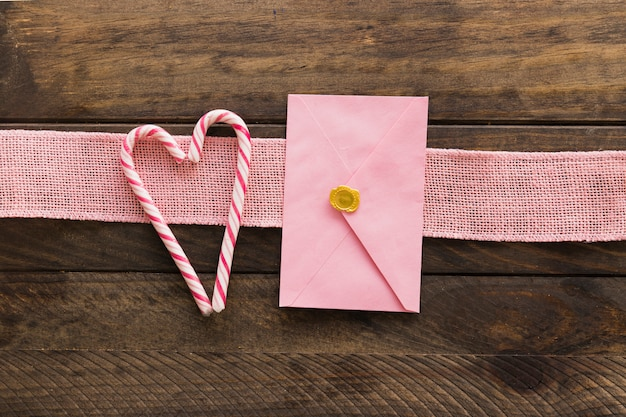 Ribbon, envelope and candy canes