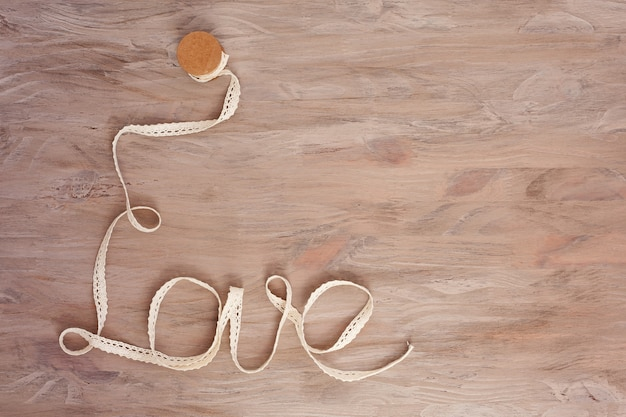 Ribbon formed in word love. concept of love, wedding, saint valentine's day