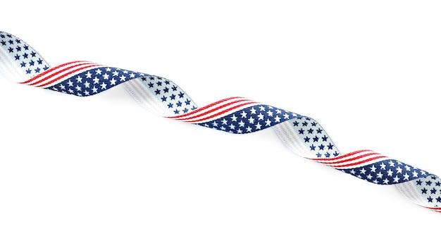 Лента с флагом сша на белом