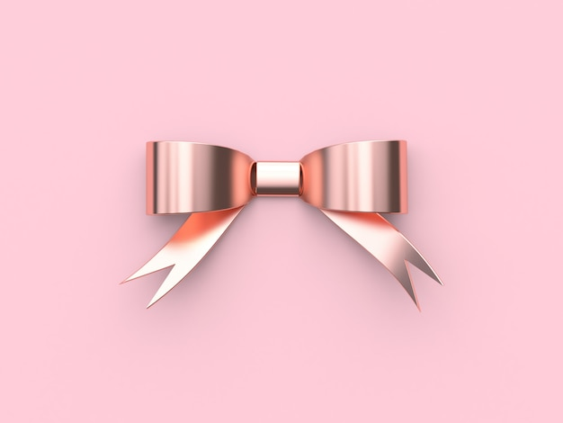 Ribbonbow pink metallic reflection pink background 3d rendering decoration