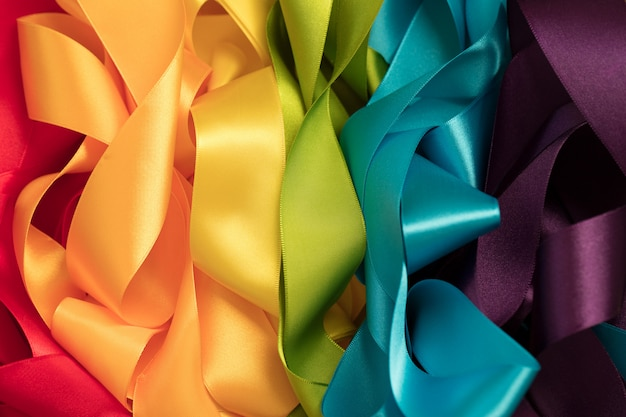 Ribbons forming rainbow colors
