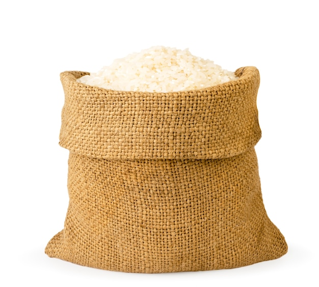 Rice in a bag on a white background