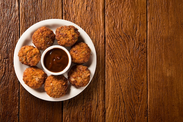 Rice ball fried on wood background