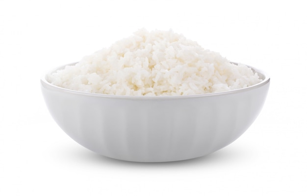 Rice in a bowl on a white. full depth of field