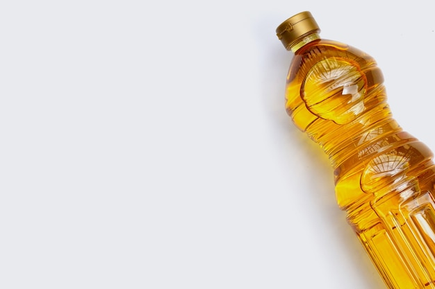 Rice bran oil on white background.