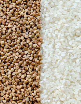 Rice and buckwheat on the table.