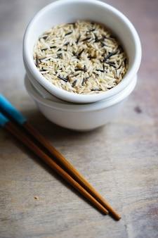 Rice and chopsticks