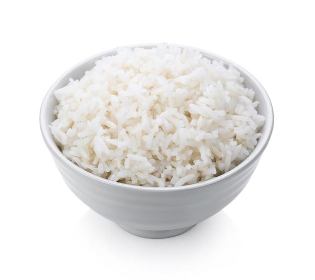 흰색 배경에 흰색 그릇에 밥 솥