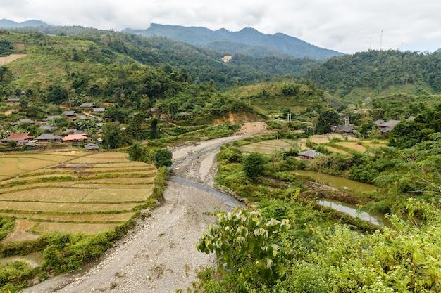 ベトナムのジエンビエン県の村の近くの水田秋