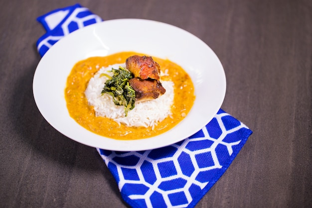 Rice fish coconut curry