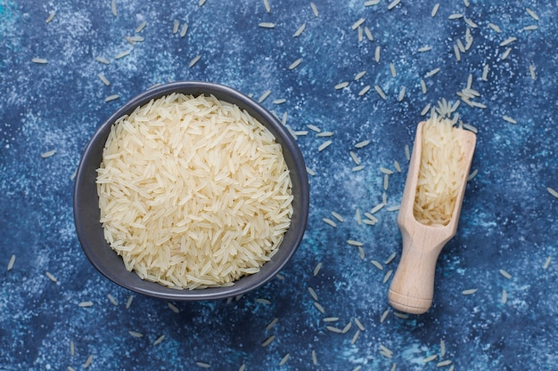 Rice flakes, rice noodles, rice bread and rice, top view
