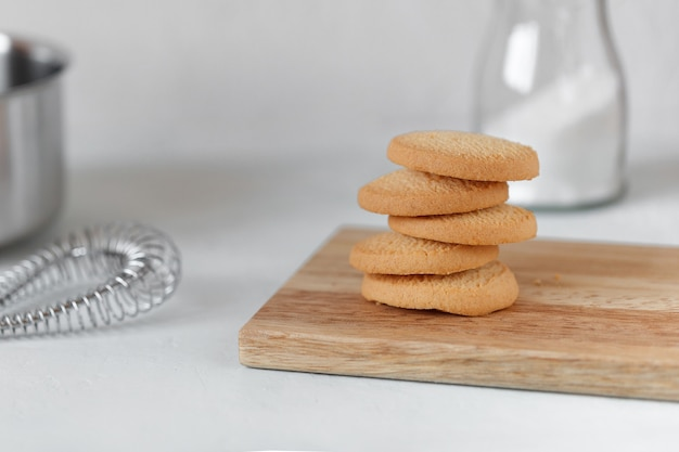 Rice flour cookies closeup, concept of nutrition without gluten