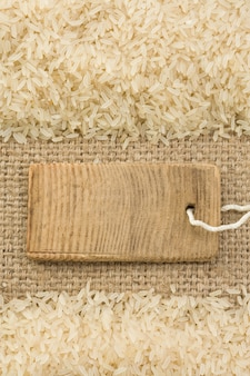 Rice grain and sack burlap as surface texture