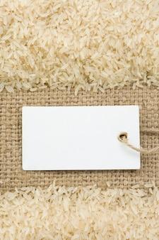 Rice grain at sack burlap surface  texture