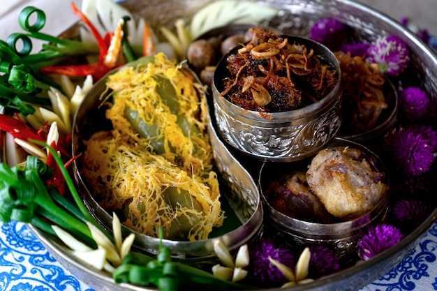 Rice in ice water thai old style food
