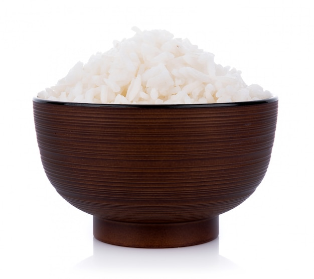 Рис в миске на белой стене