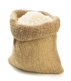 흰색 자루 가방에 쌀