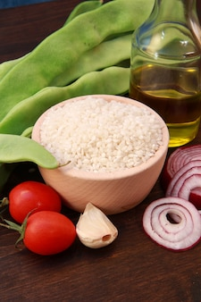 Rice and ingredients for risotto