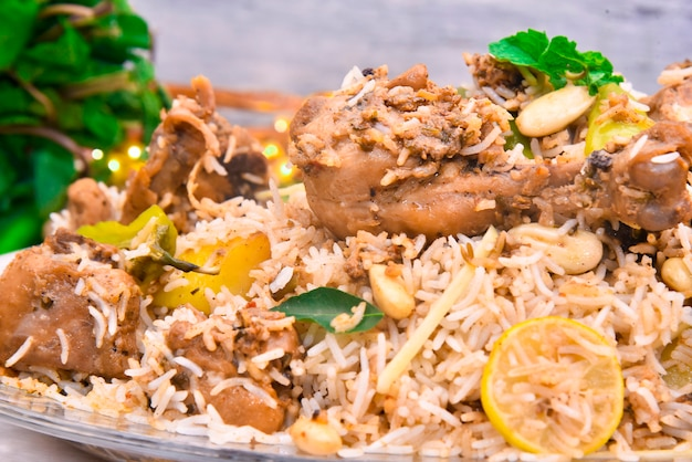 Rice and meat with different spices food photography ( lucknowi biryani)