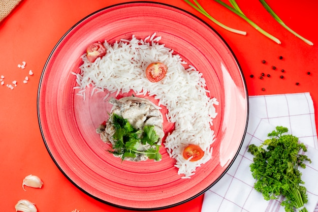 Rice and mushrooms in sour cream with herbs