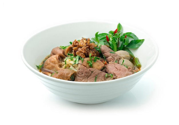 Rice noodles beef soup with beef,liver,intestine