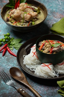 Rice noodles, chicken green curry, coconut milk thai food.