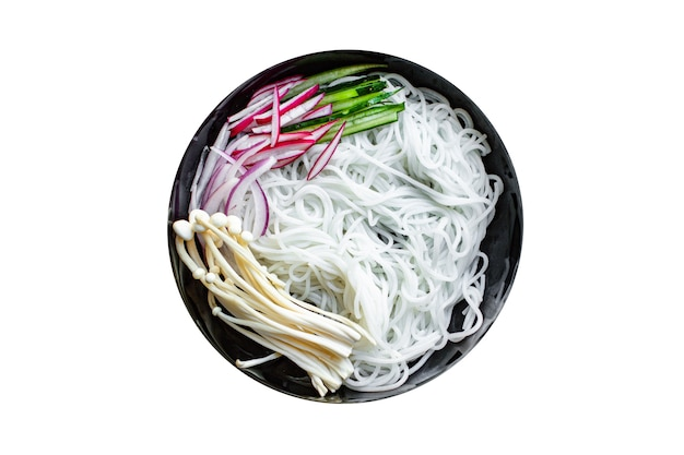 Rice noodles enoki mushrooms vegetable cellophane pasta miso ramen soup funchose pho seafood