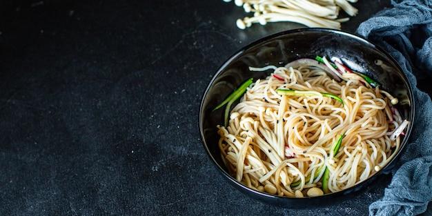 Rice noodles enoki mushrooms vegetable cellophane pasta miso ramen soup funchose pho seafood