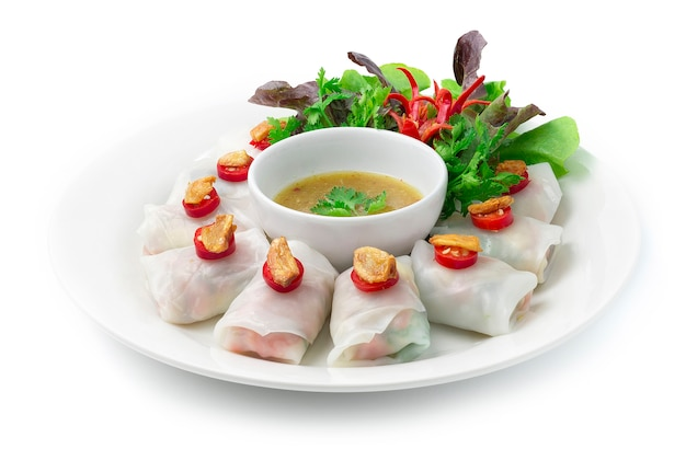 Rice noodles rolls with vegetables wraps vegetarian