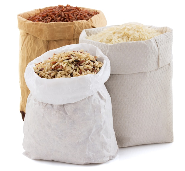 Rice in paper bag isolated on white