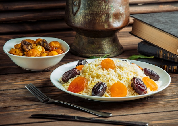 Rice plov with dates and dry fruits.