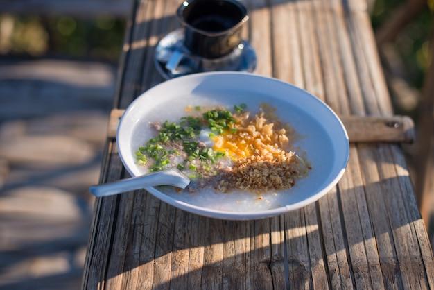 Rice porridge in the morning,center view