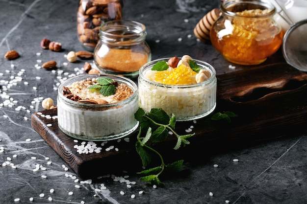 Rice pudding with honey and cinnamon