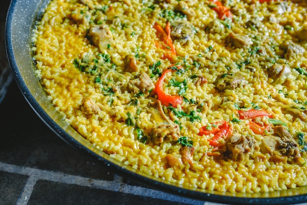 Rice and rabbit, typical dish of the gastronomy of the region of murcia, spain
