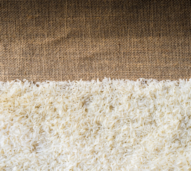 Rice on sackcloth use for background