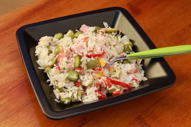 Rice salad with vegetables