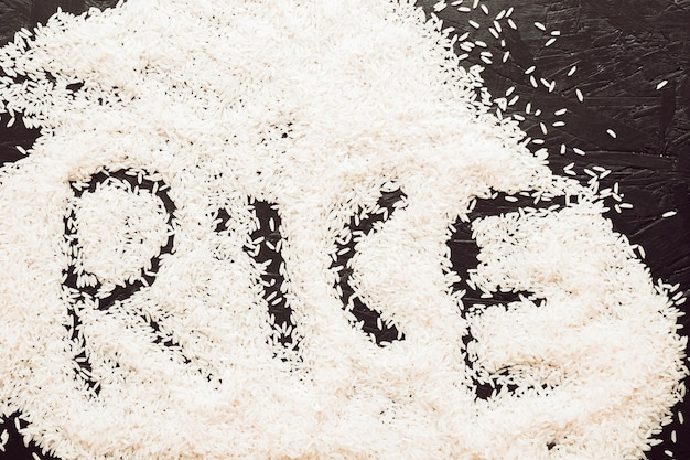Rice text written in uncooked rice grain on textured background