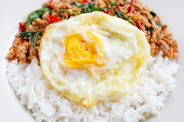 Rice topped with stir-fried pork with holy basil and fried egg